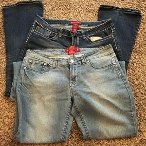 Two junior red rivet jeans. In good condition